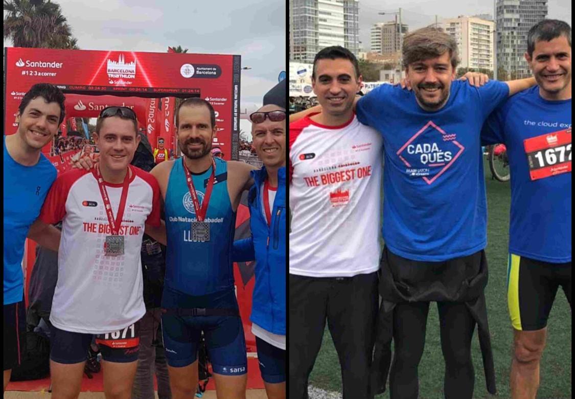 profesionales de Nexica Econocom con clientes participantes en la Barcelona Triathlon, este domingo, 6 de octubre de 2019