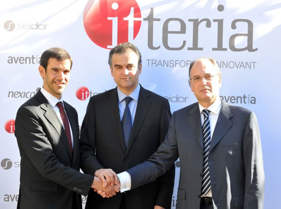 Alejandro Daniel, de Seidor; Josep Grau, d'Aventia, i Jordi Mas, de Nexica,