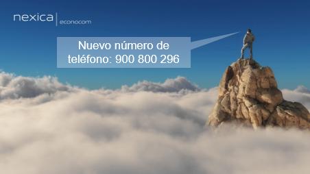 Nuevo número de teléfono de Nexica: 900 800 296